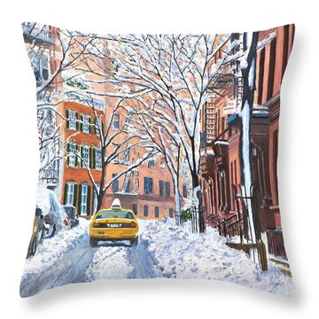 Snow West Village New York City Throw Pillow by Anthony Butera