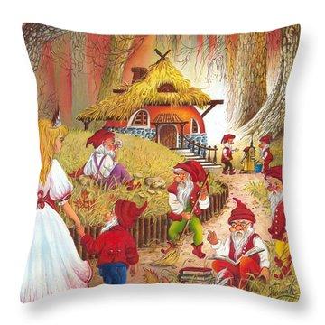 Throw Pillow featuring the painting Snow White And The Seven Dwarfs by Anna Ewa Miarczynska