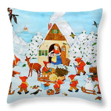 Snow White And The Seven Dwarfs Throw Pillow