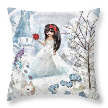 Snow White Throw Pillow by Mo T