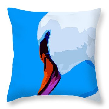 Throw Pillow featuring the mixed media Snow White Swan by Brian Stevens