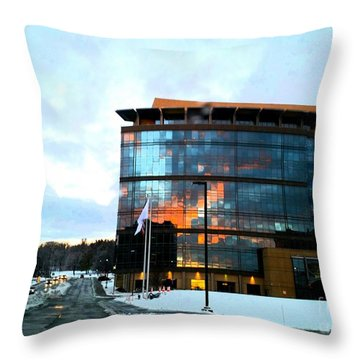 Snow With Sunrise Throw Pillow
