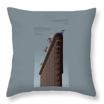 Snowboarders Fly Off The Flatiron Halfpipe Throw Pillow
