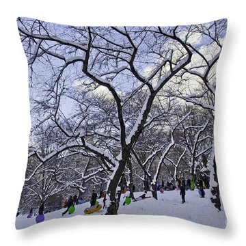 Snowboarders In Central Park Throw Pillow by Madeline Ellis