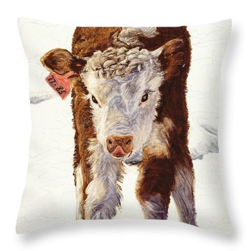 Country Life Winter Baby Calf Throw Pillow