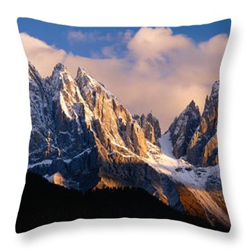 Snowcapped Mountain Peaks, Dolomites Throw Pillow by Panoramic Images