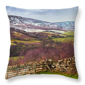 Snowcapped North Yorkshire Moors Throw Pillow