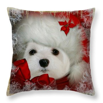 Snowdrop  And  Santa Hat Throw Pillow by Morag Bates