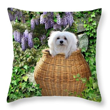 Snowdrop In A Basket Throw Pillow by Morag Bates