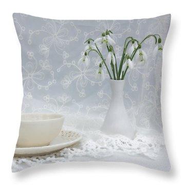 Snowdrops At Teatime Throw Pillow by Ann Garrett