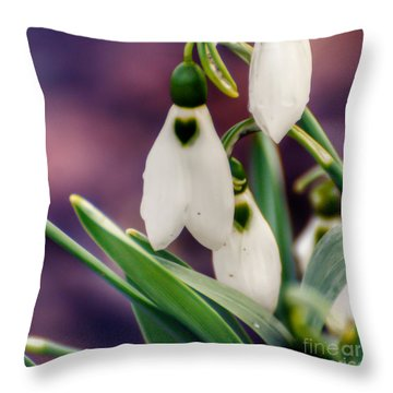 Snowdrops Throw Pillow