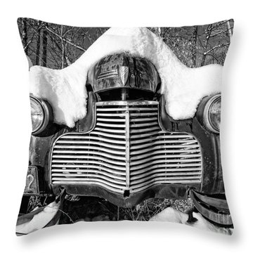 Snowed In A Thick Blanket Of Snow Covering A Vintage Chevy Throw Pillow