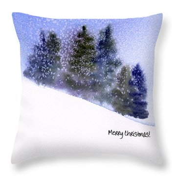 Throw Pillow featuring the painting Snowfall by Anne Duke