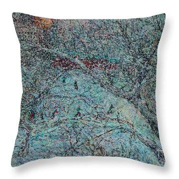 Snowfall In Moscow's Lublino Park Throw Pillow