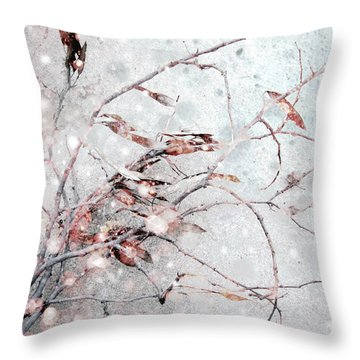 Snowfall On Branch Throw Pillow by Ann Powell
