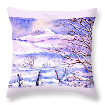 Throw Pillow featuring the painting Snowfall On Eagle Hill Hacketstown Ireland  by Trudi Doyle