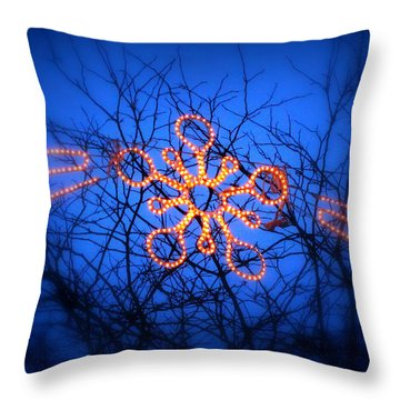 Throw Pillow featuring the photograph Snowflake Christmas Lights by Aurelio Zucco