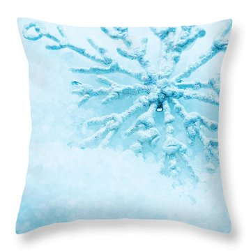 Snowflake In Snow Throw Pillow by Michal Bednarek