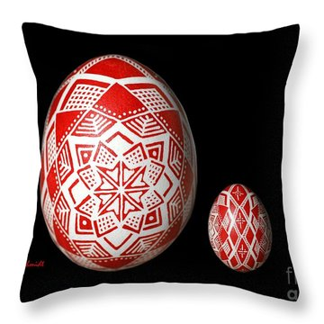 Snowflake Lace 1 - Red And White Throw Pillow by E B Schmidt