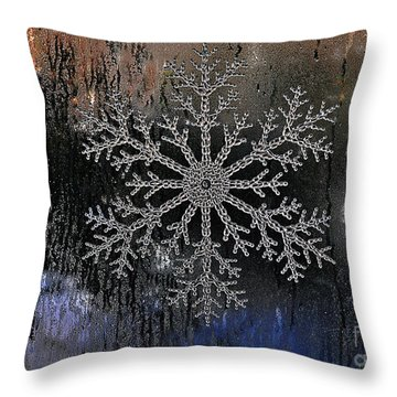 Snowflake On A Night Window Throw Pillow by Elaine Manley