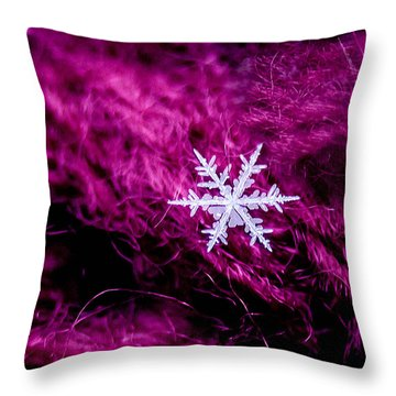 Snowflake On Magenta Throw Pillow