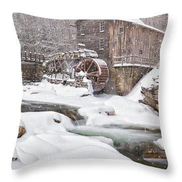 Snowglade Creek Grist Mill Throw Pillow