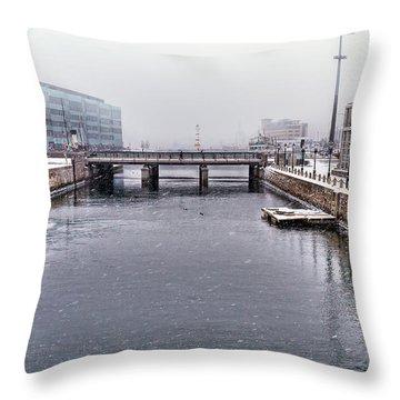 Winter Bridge Throw Pillow by EXparte SE