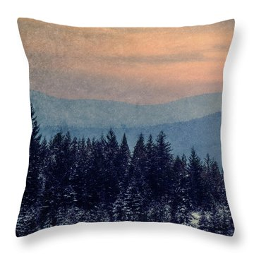 Snowing Sunset Throw Pillow by Melanie Lankford Photography