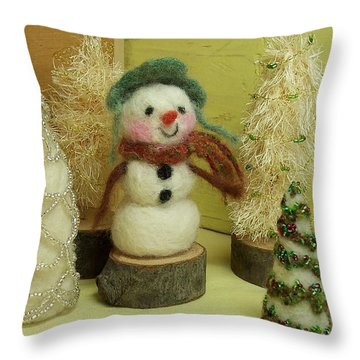 Snowman And Trees Holiday Throw Pillow