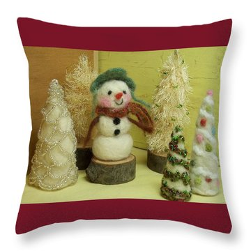 Snowman And Trees Holiday Throw Pillow by Mary Wolf