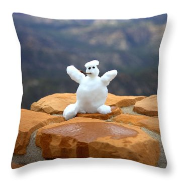 Snowman At Bryce - Square Throw Pillow by Gordon Elwell