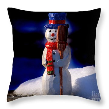 Snowman By George Wood Throw Pillow