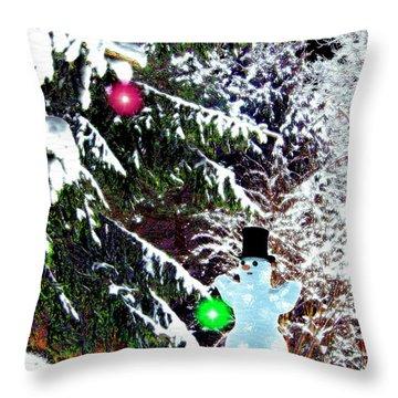 Throw Pillow featuring the digital art Snowman by Daniel Janda