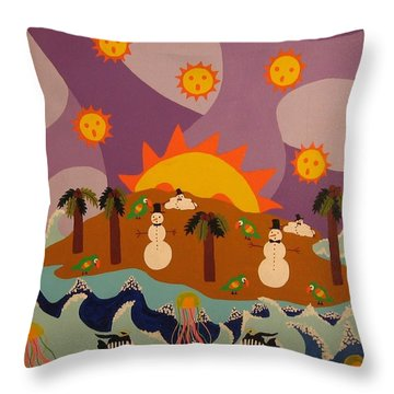 Throw Pillow featuring the painting Snowman Is An Island by Erika Chamberlin