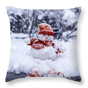 Snowman Throw Pillow by Joana Kruse