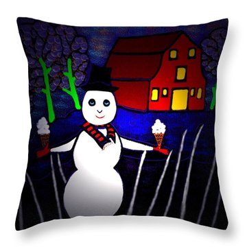 Snowman Throw Pillow by Latha Gokuldas Panicker