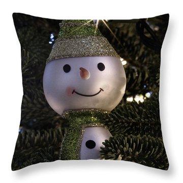 Snowman Ornament Throw Pillow by Birgit Tyrrell