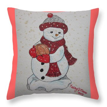 Snowman Playing Basketball Throw Pillow by Kathy Marrs Chandler