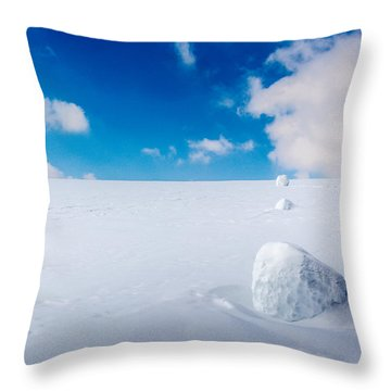 Snowman Some Assembly Required Throw Pillow by Randy Scherkenbach