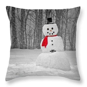 Snowman Throw Pillow by Steven Michael