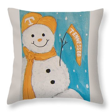 Snowman University Of Tennessee Throw Pillow