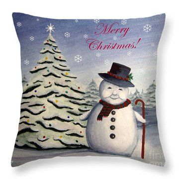 Snowman's Christmas Throw Pillow