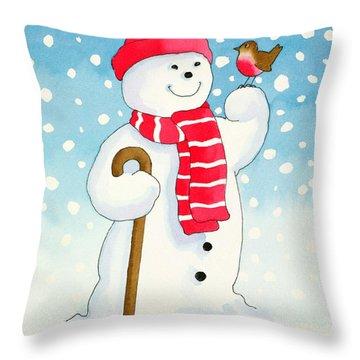 Snowmans Friend Throw Pillow by Lavinia Hamer