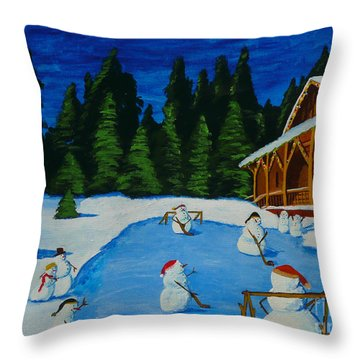 Snowmans Hockey Two Throw Pillow by Anthony Dunphy