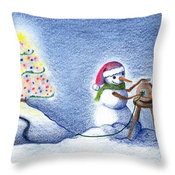 Snowman's X'mas Throw Pillow by Keiko Katsuta