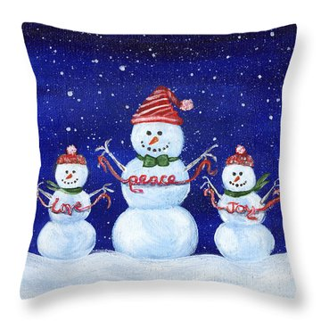 Snowmen Throw Pillow
