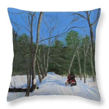 Snowmobile On Trail Throw Pillow