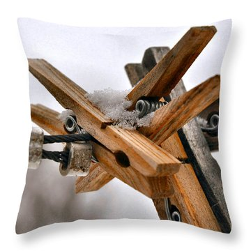 Winter Laundry Day Throw Pillow