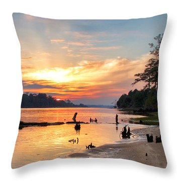 Snow's Cut Sunset Throw Pillow by Phil Mancuso