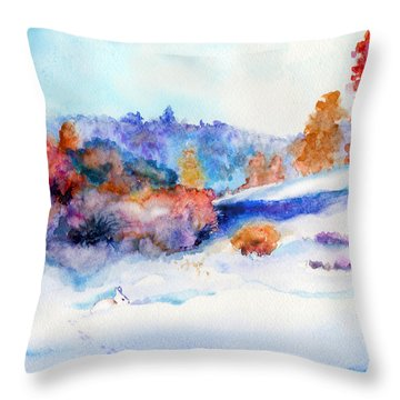 Snowshoe Day Throw Pillow